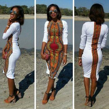 sexy tight folk style classic high elastic Dashiki fashion Dress Succinct…