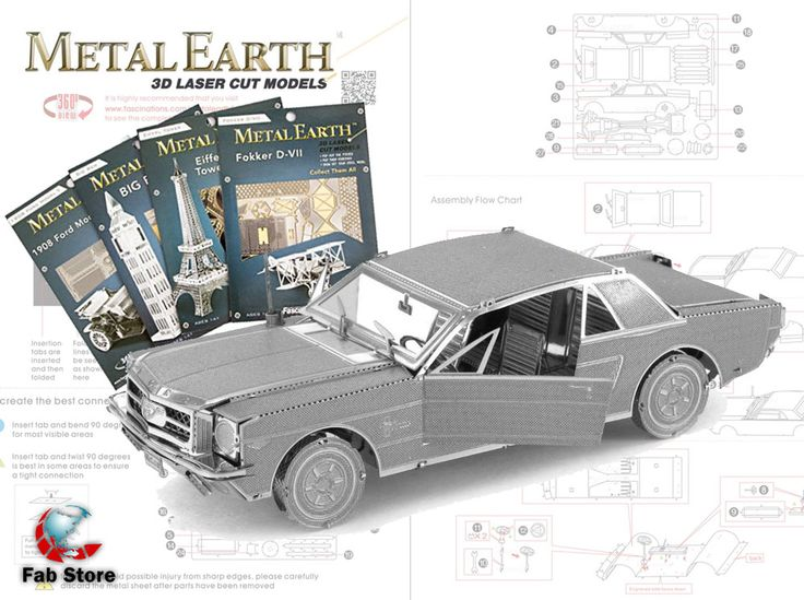 The Metal Earth models are amazingly detailed etched models that are fun and satisfying to assemble. Each model starts out as 4 inch square metal sheets and you simply pop out the pieces using wire cutters and follow the included directions to assemble your model. Visit Fab Store to find out the bests models for you.