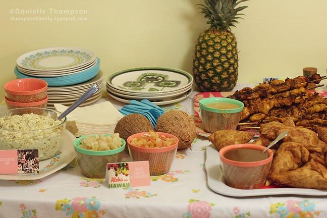 vintage tiki party food table