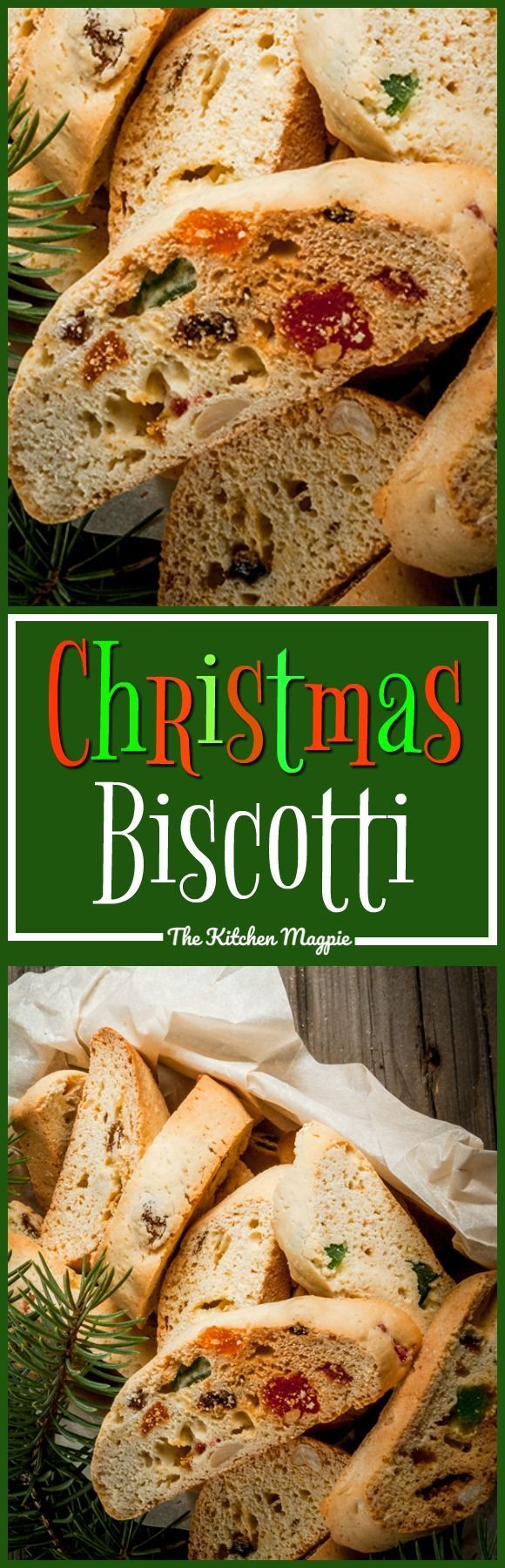 Delicious Christmas biscotti using candied cherries and fruit!Recipe from @kitchenmagpie #christmas #recipe #biscotti #fruit #baking
