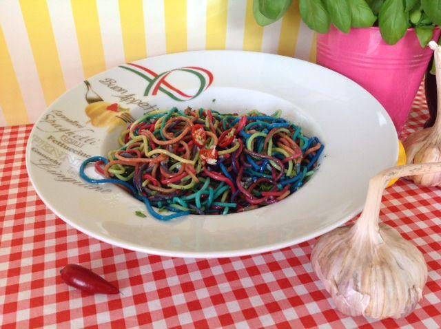 Rainbow Spaghetti coloured with natural food colours  see https://www.youtube.com/watch?v=KCR0LROGIf0&list=UUz68KJVhtnJvmosQ4JNYIuQ