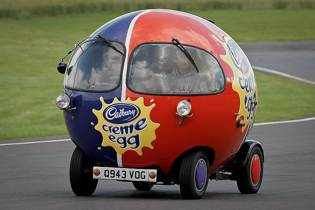 Cadbury Creme Egg Car by Rupert Procter, via Flickr. I want to go on a long road trip in this car. Can you imagine the looks we would get?