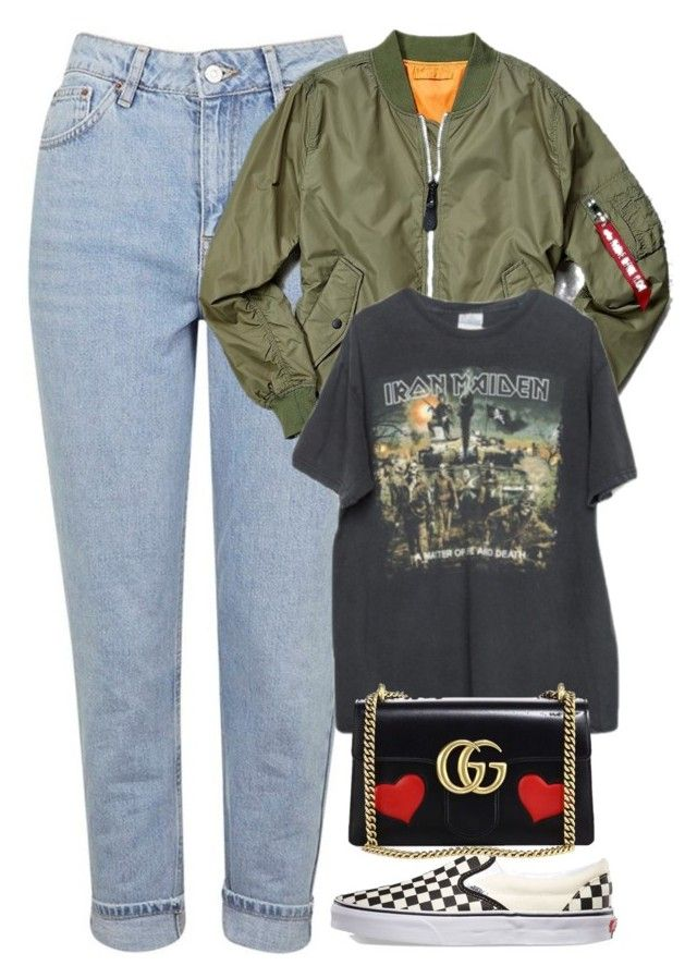 """""""Untitled #985"""" by zarryalmighty ❤ liked on Polyvore featuring Topshop, Alpha Industries, Brandy Melville, Vans, Gucci and vans"""