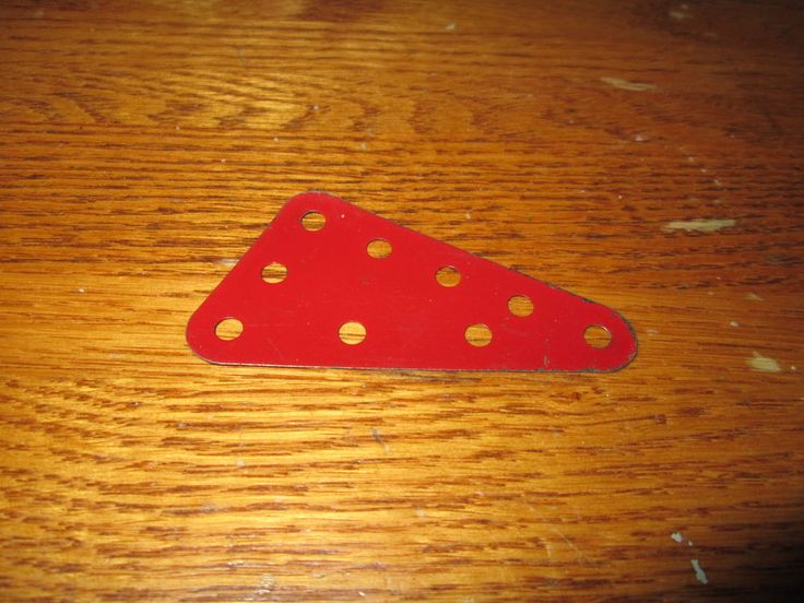 "Meccano Part # 221 RedTriangular Flexible Plate 2.5"" x 1.5"" Used Vintage  
