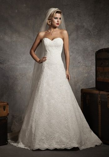 Justin Alexander Wedding Dress 8627 - A Line, sweetheart, chapel train, Alencon lace, satin