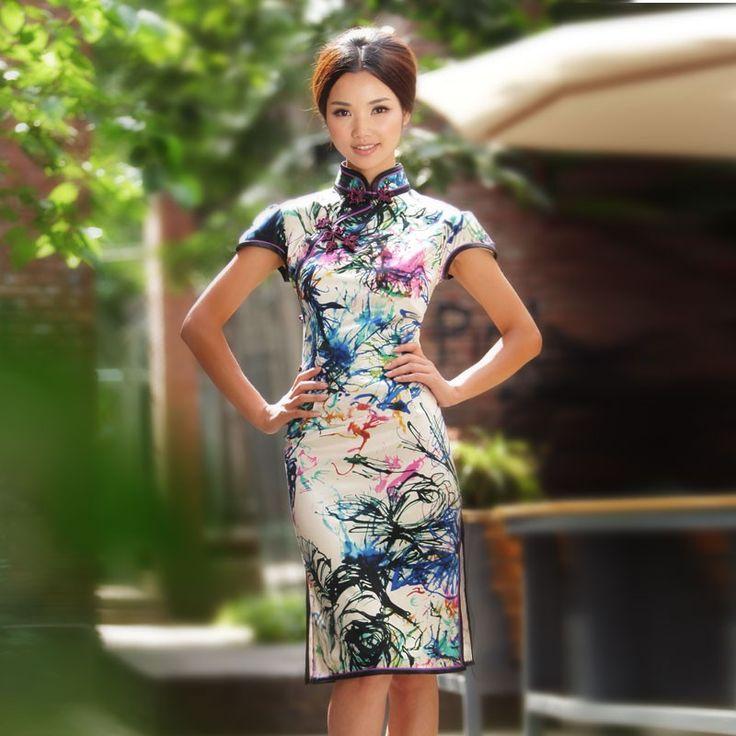 Fashion Silk Short Cheongsam Dress | Windflowers