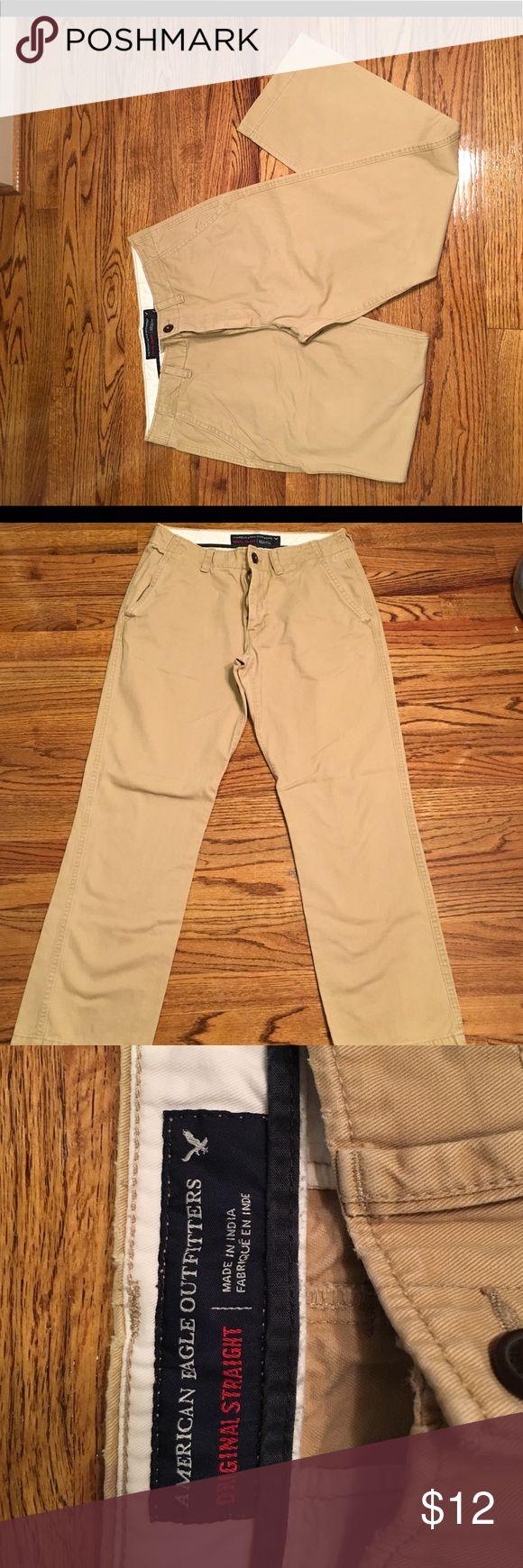 AE Mens Khaki Pants AE Original straight Mens khaki pants. Size 32/32. Good condition American Eagle Outfitters Pants Chinos & Khakis