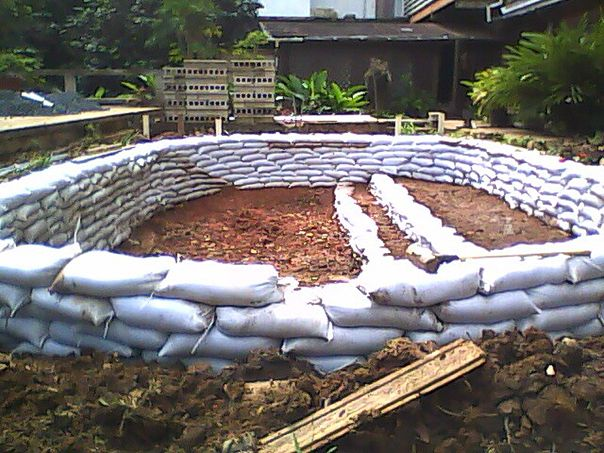 diy sand bag fish pond