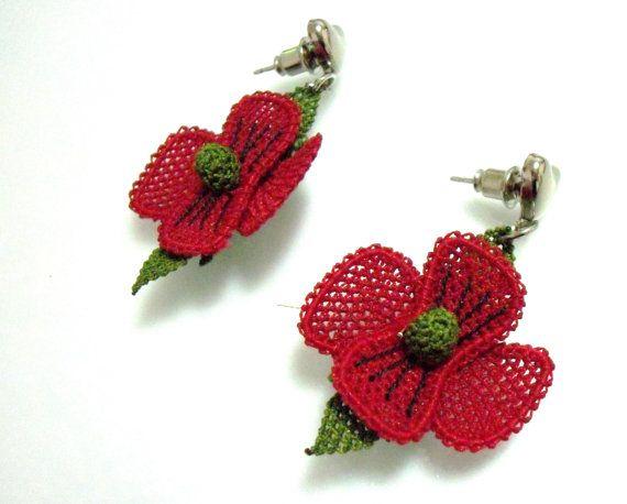 Handmade Silk Needle Lace earrings red  earrings by guldemirdinc, $40.00