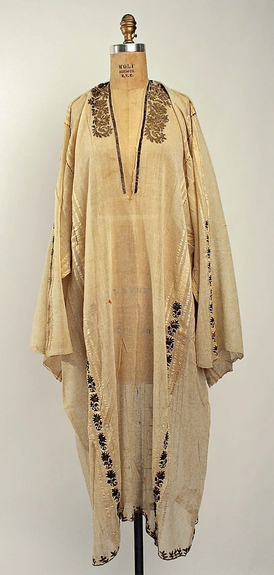 Underdress for a festive costume.  Greek, from Anatolia or from the Greek islands near the Turkish coast.  Late-Ottoman era, 19th century.  Silk and metal thread embroidery on linen. Very similar to Turkish 'göynek' from West-Anatolia.  (Metropolitan Museum of Art, New York).