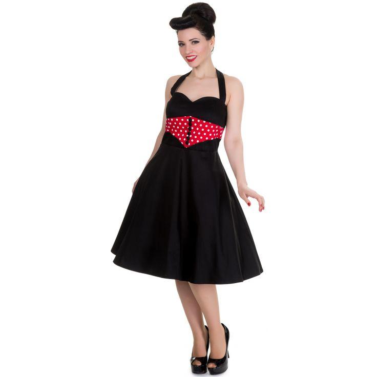 Iris Polka Dot Vintage Dress in Black/Red