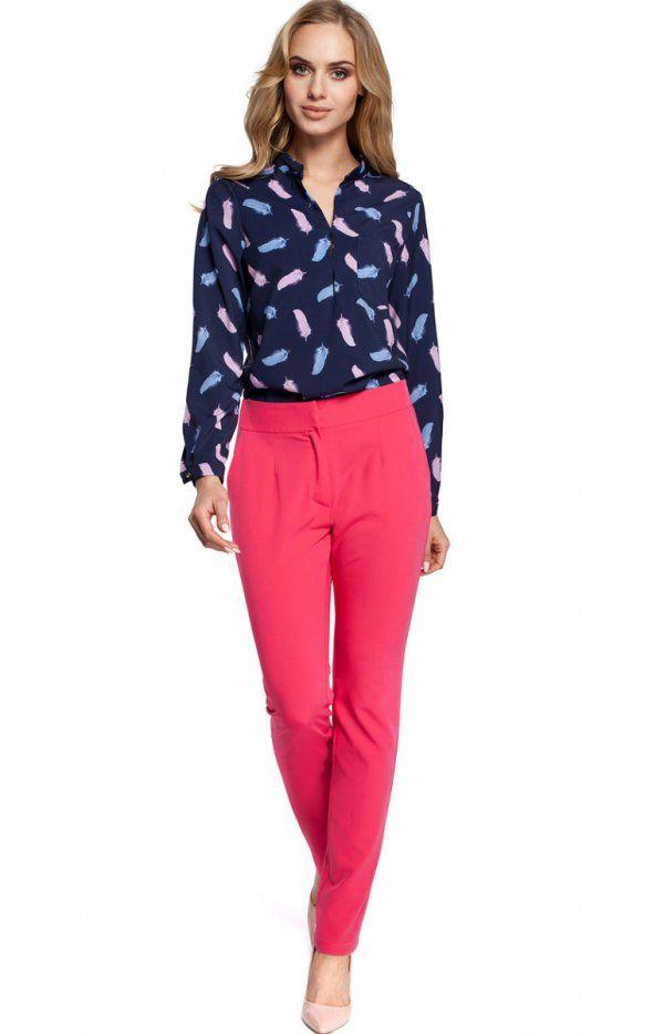 Moe M303 spodnie różowa Eleganckie spodnie garniturowe, gładkie z prostymi nogawkami, boczne kieszenie