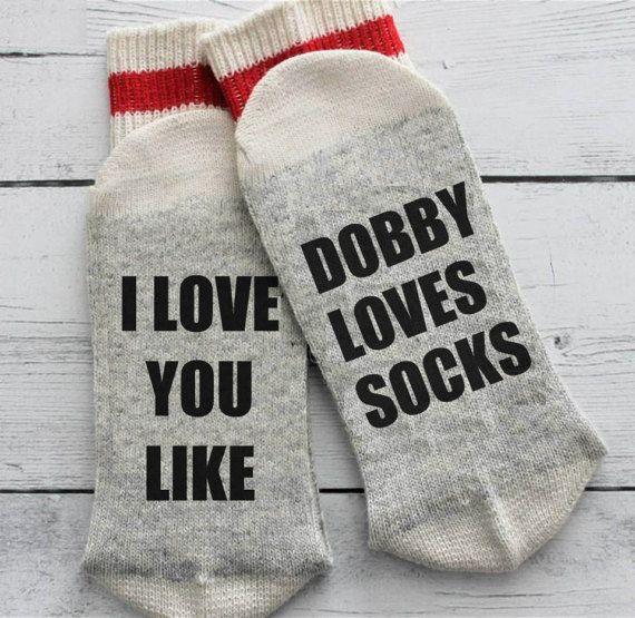 Chaussettes de Harry Potter, Dobby, drôles, si vous pouvez lire ceci, j'aime vous, maman, papa, grand-papa, anniversaire, bière chaussettes, Dobby aime chaussettes