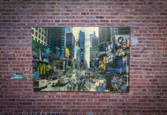 New York, Times Squareサイズ 1235mm×825mm×4,5mmウッドキャンバス作品Mixed Media w...|ハンドメイド、手作り、手仕事品の通販・販売・購入ならCreema。
