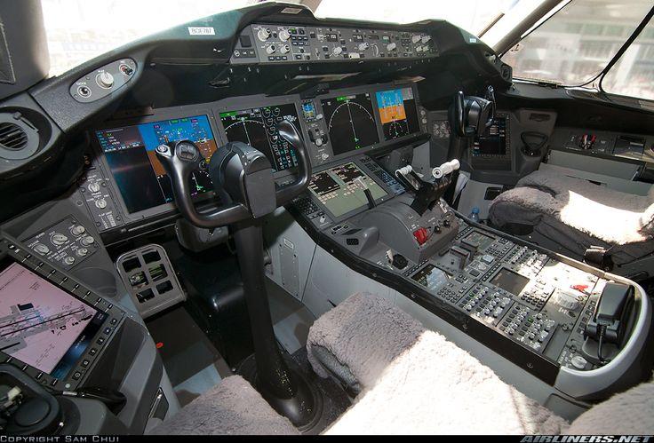 Boeing 787 cockpit.