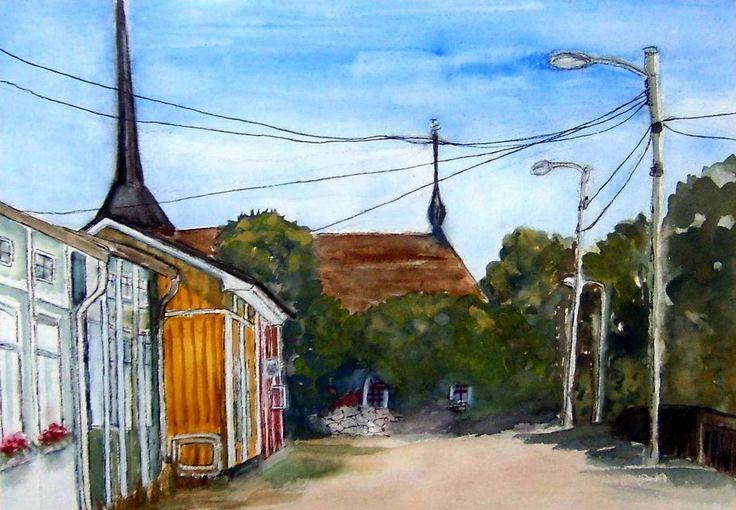 """Ulrika Eleonora road"" Original watercolor painting by Britta Bergström-Jungell."