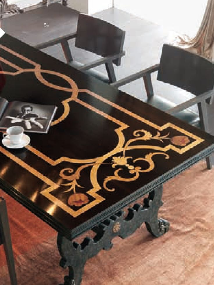 "Tavolo ""fratino""_nero con top intarsiato e gambe a lira_Coffee table with inlayed top"