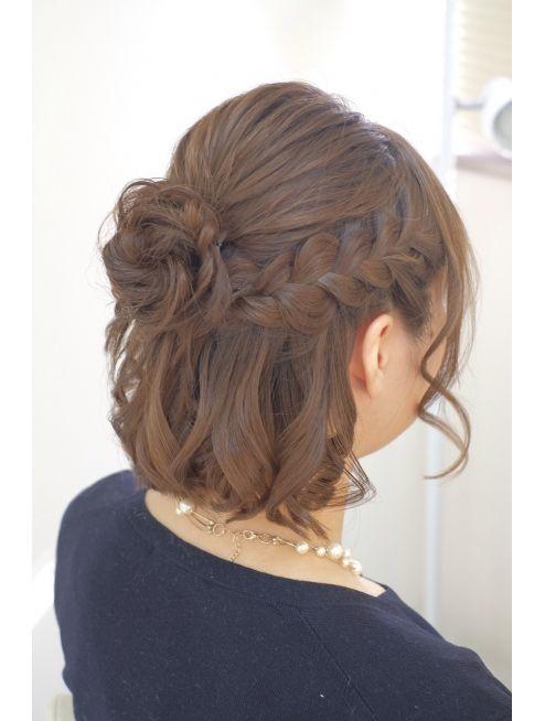 リサ 恵比寿(risa.) ボブアレンジ☆お花ハーフアップ | Простые прически, Прически для коротких волос, Прически