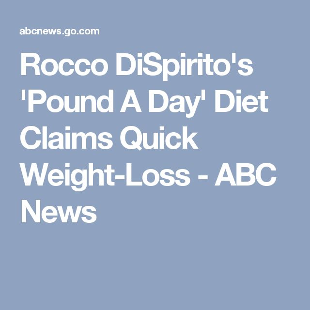 Rocco DiSpirito's 'Pound A Day' Diet Claims Quick Weight-Loss - ABC News