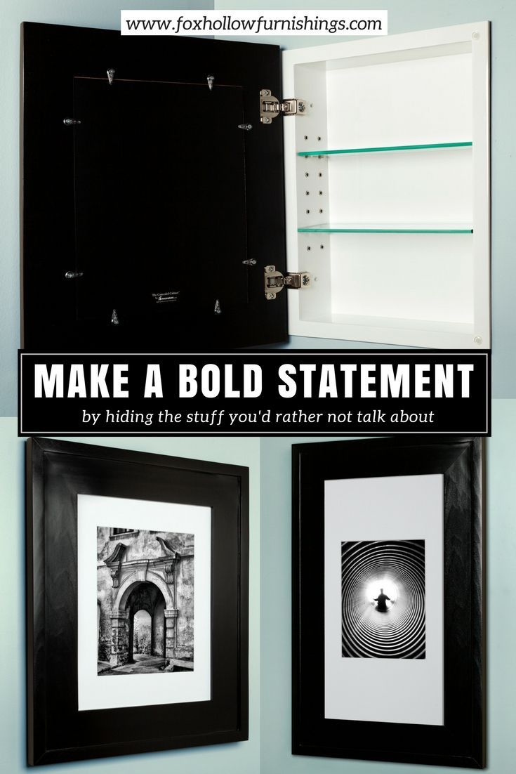 The Black Concealed Cabinet A Black Picture Frame Hides A Recessed Medicine Cabinet Behi Bathroom Decor Themes Black Picture Frames Recessed Medicine Cabinet