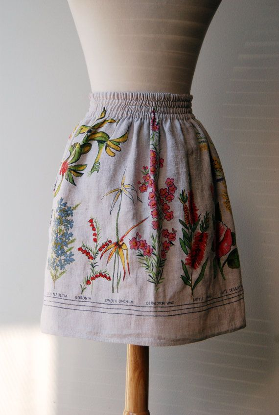 Upcycled Linen Tablecloth Skirt for an Adult with by FoxnLily