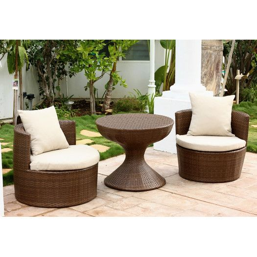 abbyson living palermo 3 piece seating group with cushions allmodern - Garden Furniture Kings Lynn