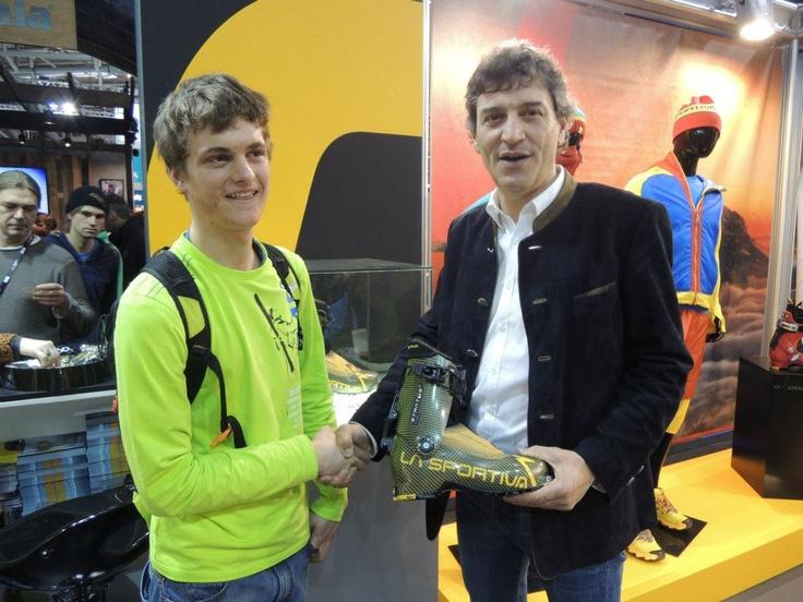 German La Sportiva Athlete Anton Palzer with La Sportiva CEO Lorenzo Delladio