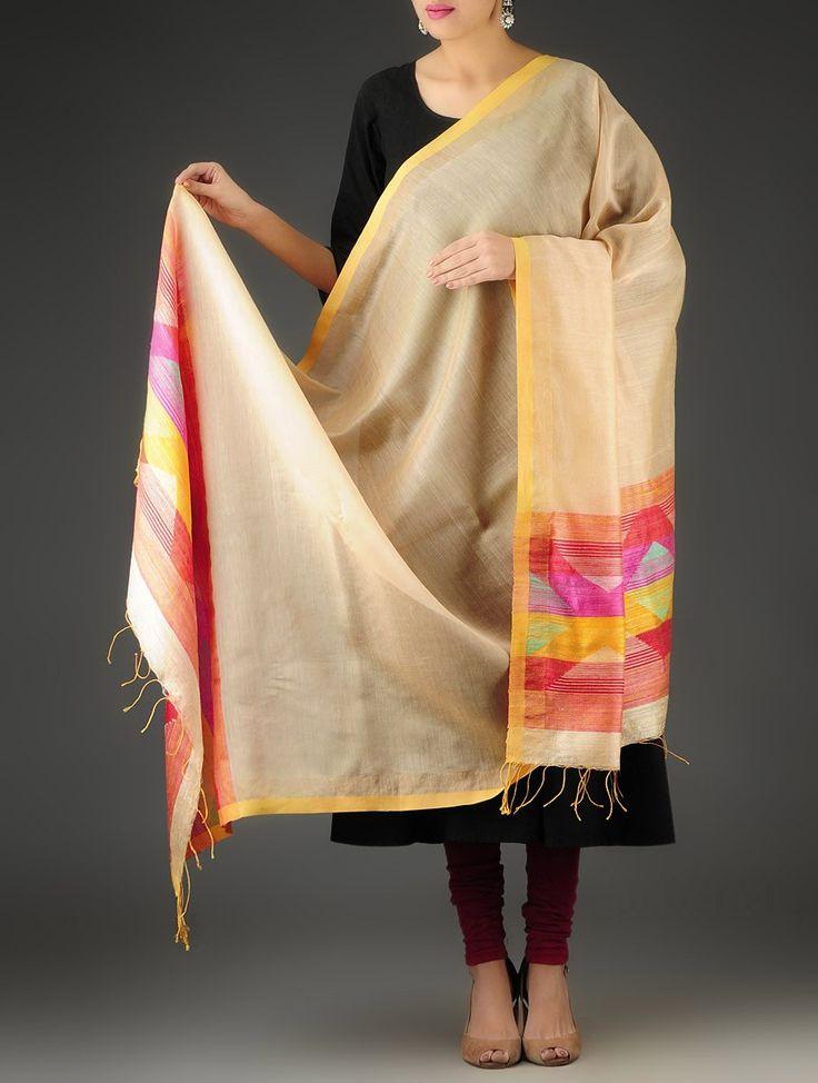 Light Brown-Multi-Color Handwoven Jamdani Silk-Cotton Dupatta