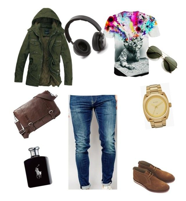 """campus style"" by geekwithbows on Polyvore featuring Pepe Jeans London, B&O Play, Ralph Lauren, Nixon, FOSSIL, men's fashion and menswear"