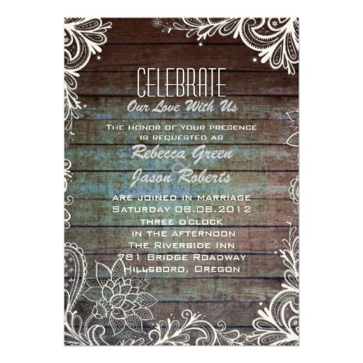 modern rustic barnwood lace wedding  invitation cards