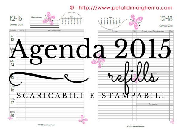 Agenda 2015 stampabile liberamente per Sistemi Filofax A5, settimana su 2 pagine - Free printable 2015 diary refill for filofax system in A5 format, WOTP
