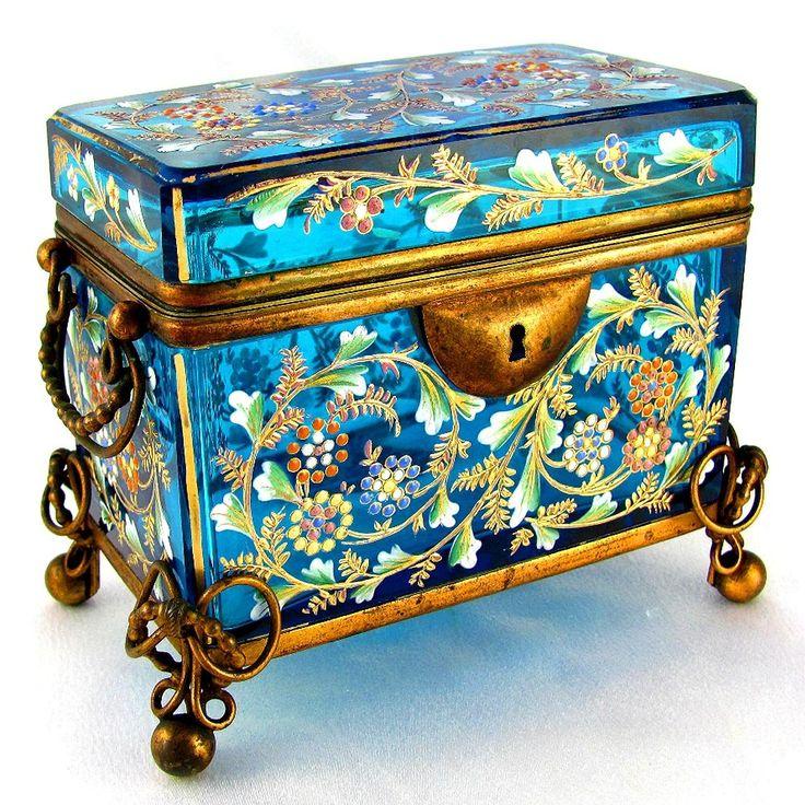 #Bohemian  --  Moser  --  19th Century Enameled Glass Sugar Casket or Jewelry Box