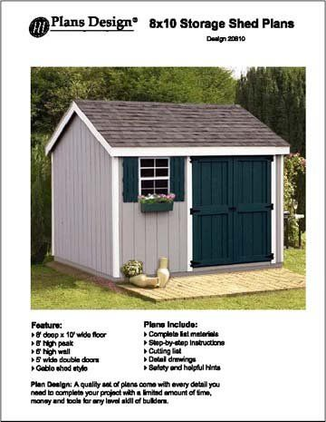 1000 ideas about 8x10 shed on pinterest shed plans for Gable storage shed plans