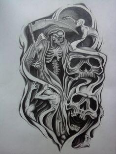 Skull Half Sleeve Tattoo Designs   half sleeve tattoo design by ...