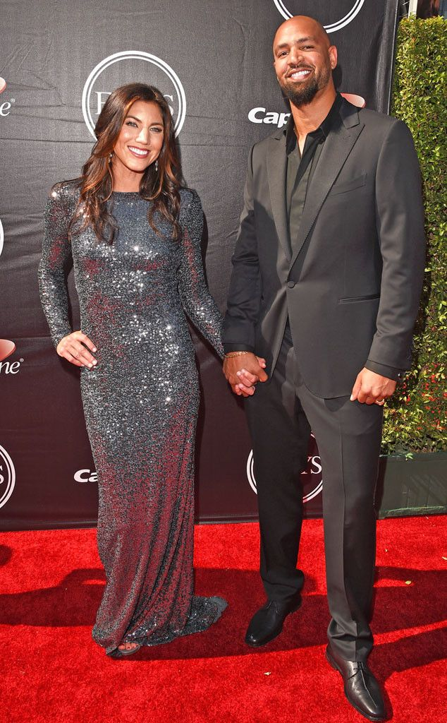 Hope Solo & Jerramy Stevens from 2015 ESPY Awards Red Carpet Arrivals  The soccer star and her NFL player husband make a sharp appearance together.