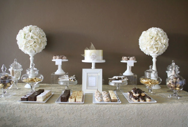 Gold, champagne & chocolate engagement sweets table- by Mon Tresor & Couture Cupcakes and Cookies xo