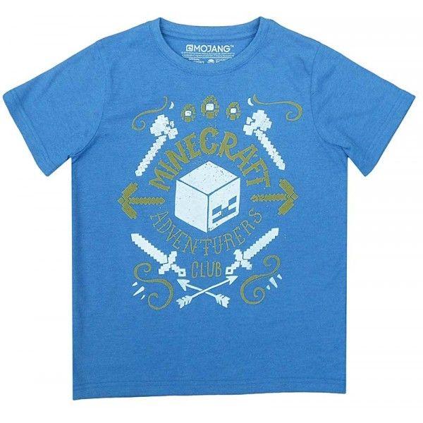 Minecraft t-shirt i blå farver og med sejt motiv