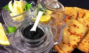 Groupon - Caviar Tasting with Champagne for Two or Russian Cuisine at Russian House (Up to 53% Off) in Downtown. Groupon deal price: $106