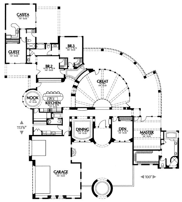 1319c 6533 3 bedrooms and 3 baths the house designers - House Plans With Attached Casita