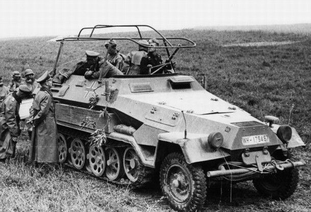 Wehrmacht (Heer) Heinz Guderian and his Sd Kfz 251/6 Ausf. During the campaign against France in the 1940's.