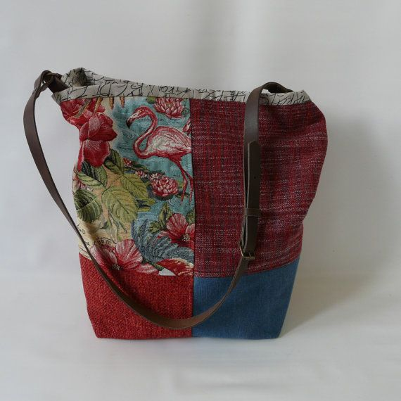 large shoulder bag XL tote bag red crossbody bag by PippiesDesign