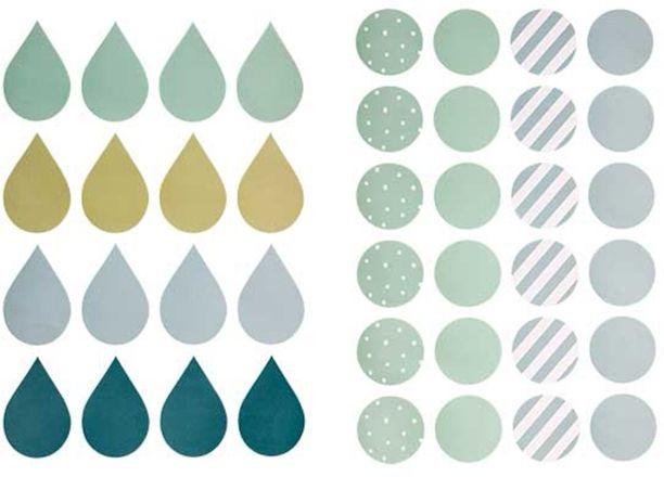 Bloomingville Wallsticker Cirklar/Droppe, Blå
