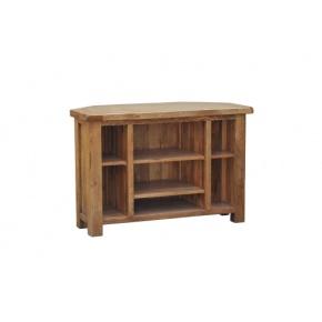 Rustic Solid Oak SRDE10 Corner Video Unit   www.easyFurn.co.uk