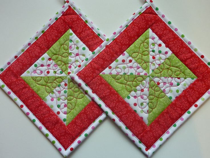 pot holder quilted patterns free | Quilted Pot Holders Pinwheels and Polka by TheQuiltedKitchen