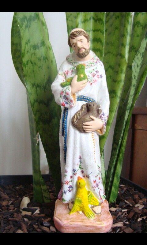 São Francisco de Assis em gesso, 32 cm, técnicas de decoupagem, pintura a mão, purpurina