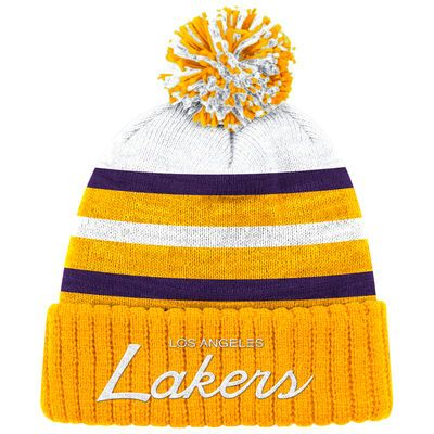 Men's Los Angeles Lakers Mitchell & Ness Gold Color Block Special Script Cuffed Knit Hat with Pom - NBA Store