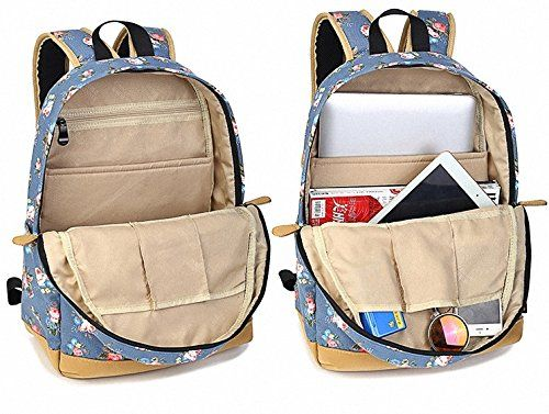Artone Canvas Retro Rose Campus Backpack Vintage Daypack With Laptop Compartment Blue: Amazon.ca: Luggage & Bags