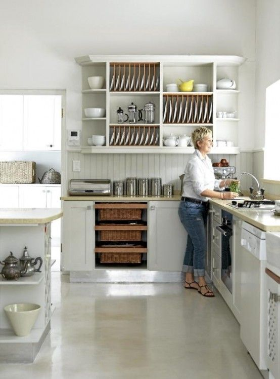 South African home's kitchen--lovely polished concrete floors