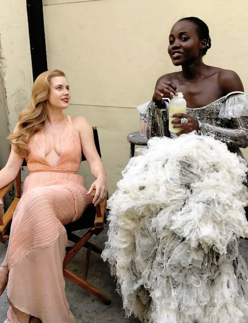 Amy Adams and Lupita Nyong'o photographed by Kathryn MacLeod. (They look like literal goddesses.)