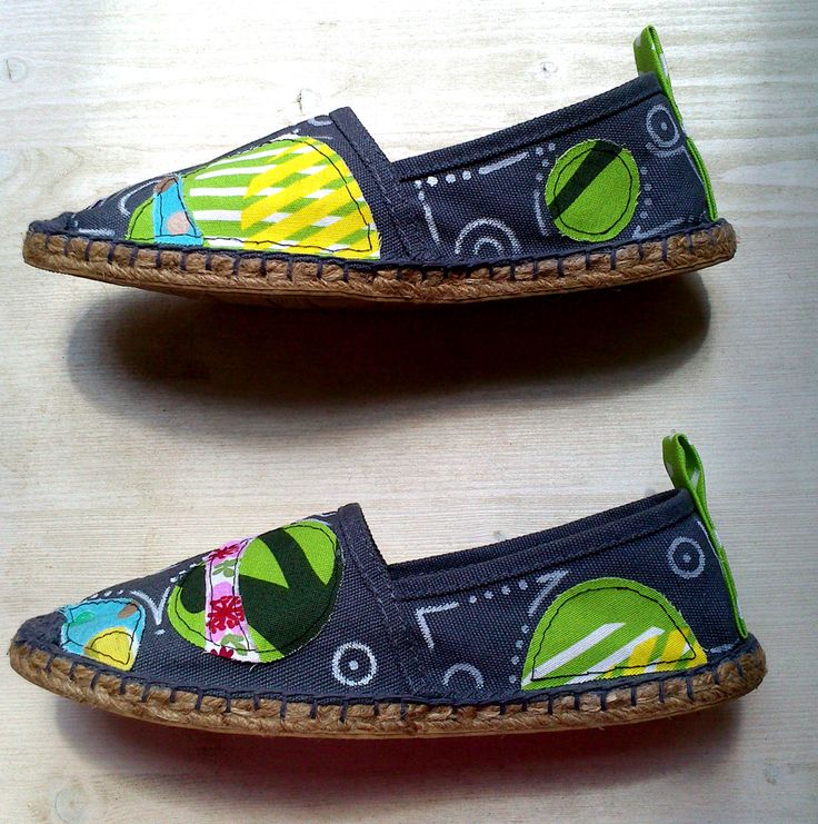 Espadrillas - textile patches and geometric drawings
